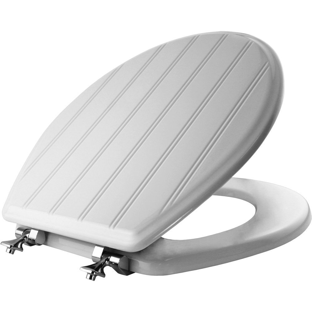 MAYFAIR Beadboard Toilet Seat with Chrome Hinges will Never Loosen, ROUND, Durable Enameled Wood, White, 29CPA