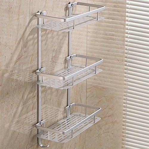 Xiaolanwelc@ 3 Tier Storage Shelf Bathroom Towel Aluminium Rack Shower Caddy Kitchen Wall Mount Soap Dish Shelf Organizer Holder