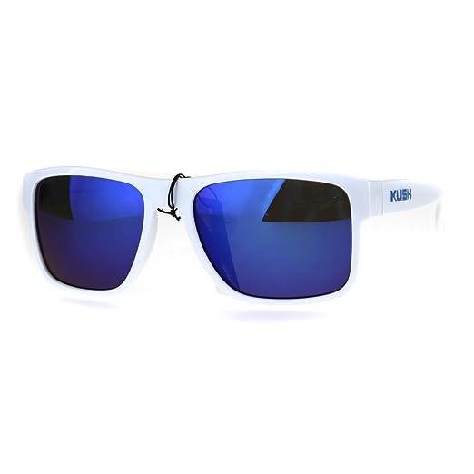 2b299d98dd Amazon.com  Mens White Kush Color Mirror Rectangular Sport Gangster ...
