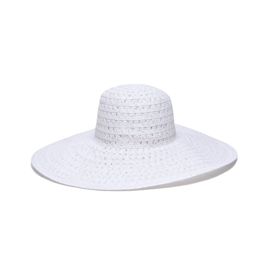 'ale by alessandra Women's Chantilly Lace Weave Toyo Floppy Hat, White, One Size by ale by Alessandra