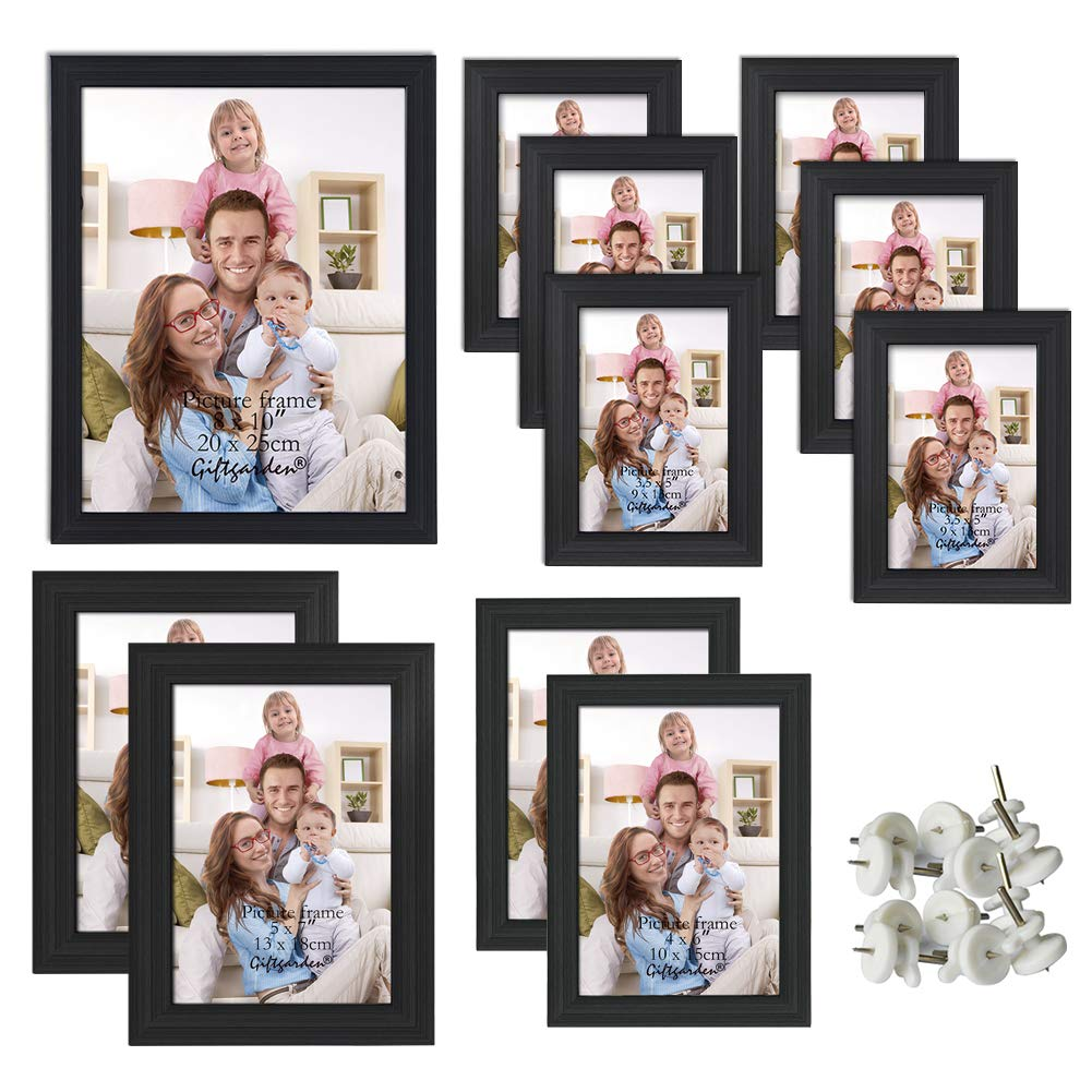Giftgarden Multi Picture Frame for Multiple Sizes 11pcs, One 8x10, Two 5x7, Two 4x6, Six 3.5x5, Glass Lens by Giftgarden