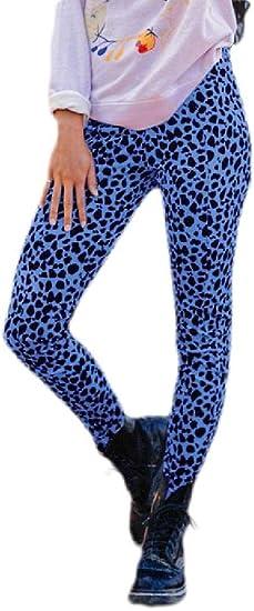 BYWX Womens Leopard Print Fashion High Waist Sweatpant Slim Fit Pants
