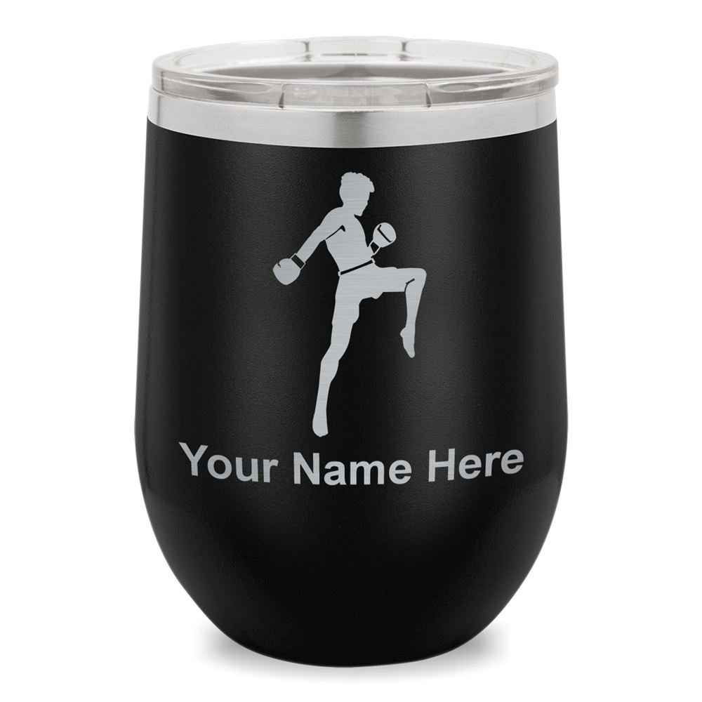 Wine Glass Tumbler, Muay Thai Fighter, Personalized Engraving Included (Black)