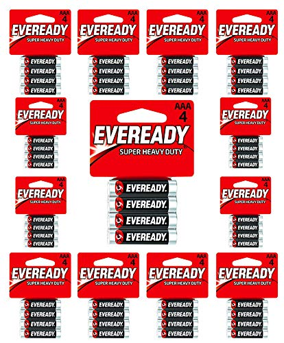 Eveready AAA Batteries Super Heavy Duty Carbon Zinc Fresh Carded (24-Pack x AAA4= 96 Batteries)