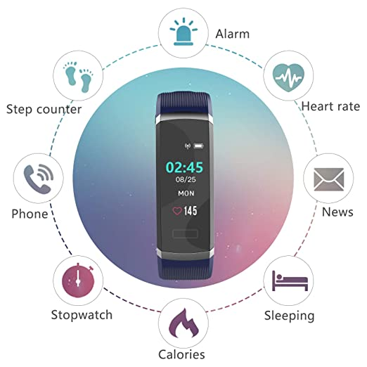 Amazon.com : BingoFit Fitness Tracker HR, Sage Color Screen Fitness Watch with Heart Rate Monitor, Waterproof Pedometer Watch with Calorie Step Counter for ...