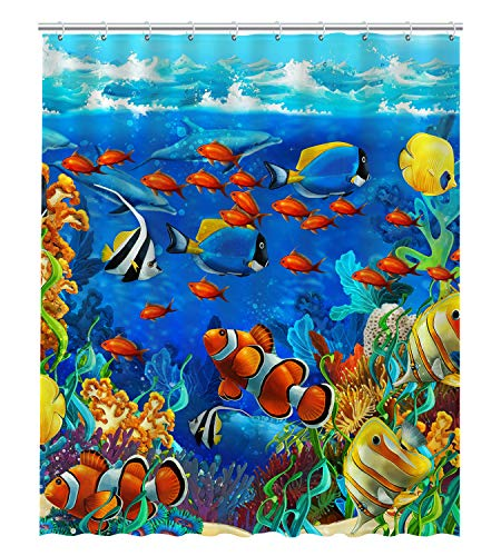 ABPHQTO Blue Ocean Tropical Fish Coral Undersea World Waterproof Polyester Bath Shower Curtain Size 60x72 Inch