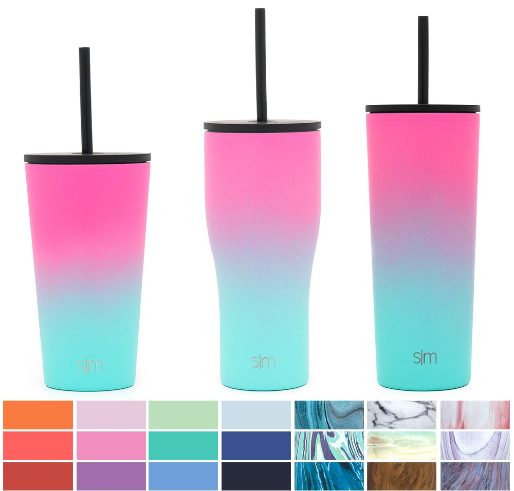 Simple Modern 20oz Journey Tumbler Mug with Straw Lid and Flip Lid - Vacuum Insulated Tumbler Flask 18/8 Stainless Steel Hydro Thermos Cup - Sorbet