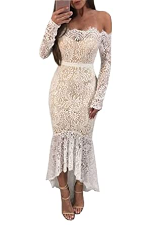 820229e8353 Women Solid White Off Shoulder Long Sleeve Lace Dress Mermaid Prom Evening  Cocktail Wedding Dress (
