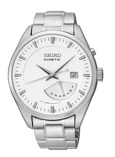 Seiko Kinetic SRN043 - Reloj para hombre, esfera blanca automática, acero inoxidable