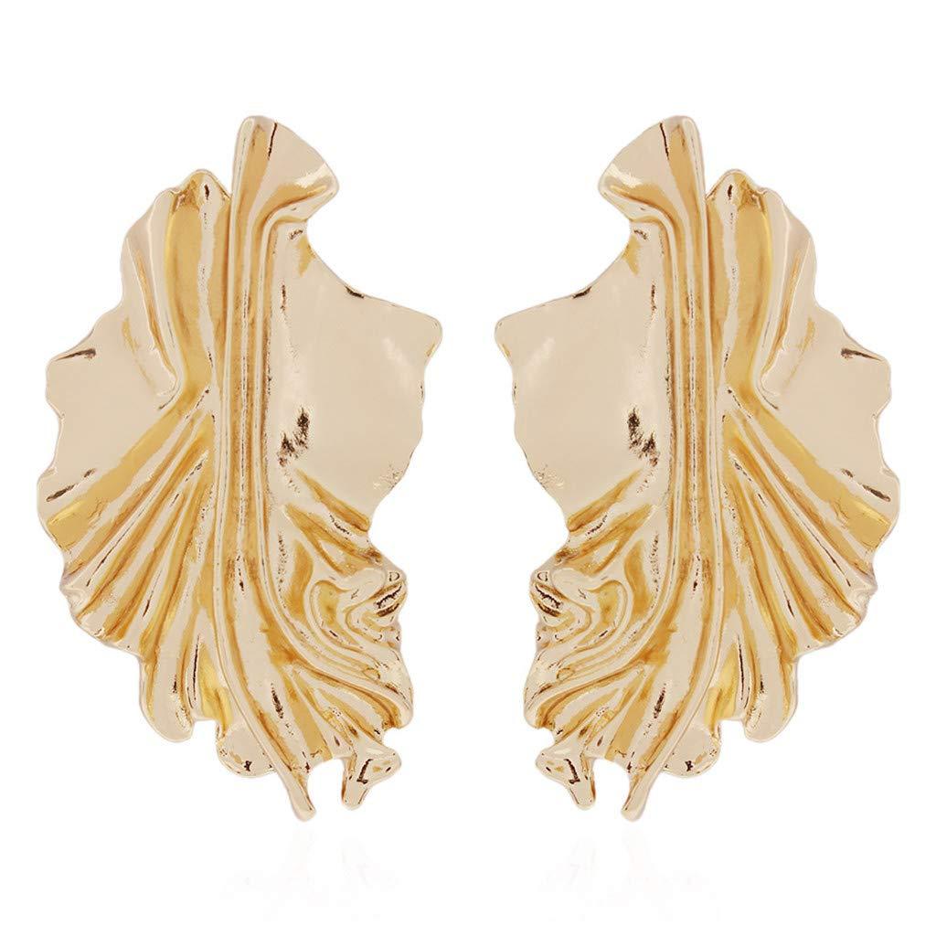 Malltop Shawn Earrings For Women Irregular metal texture earrings Personality Folded wave wild earrings