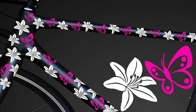Hr Werbedesign 24 Teiliges Fahrrad Hibiscus Aufkleber Hibiskus Blumen Schmetterlinge Bikecyxyx Auto
