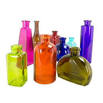 colored glass bottles variety pack food safe apothecary jars bud vases kitchenware - Colored Glass Bottles
