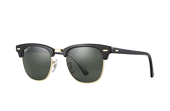 Amazon.com  Ray-Ban 3016 Clubmaster Sunglasses, Black Crystal Green ... b5050227d30