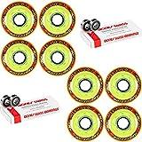 Labeda Addiction Wheels XXX Grip Yellow/Red 72mm Roller Hockey x8 +Bones Swiss