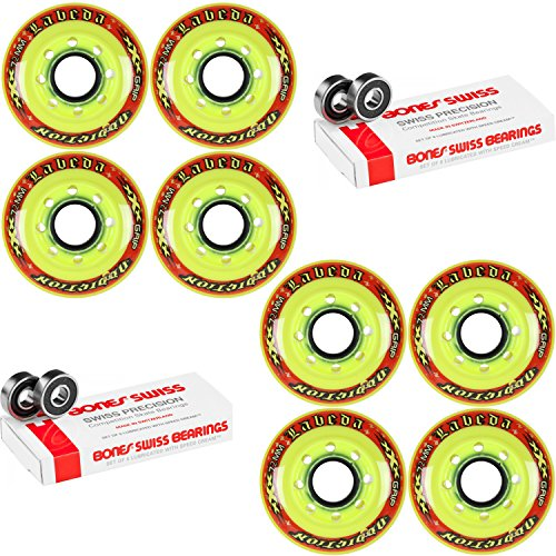 Labeda Addiction Wheels XXX Grip Yellow/Red 72mm Roller Hockey x8 +Bones Swiss by Labeda