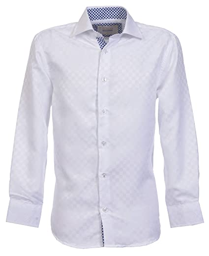 Suslo Couture Boys Button Front Long Sleeve Shirt, White Solid , 12