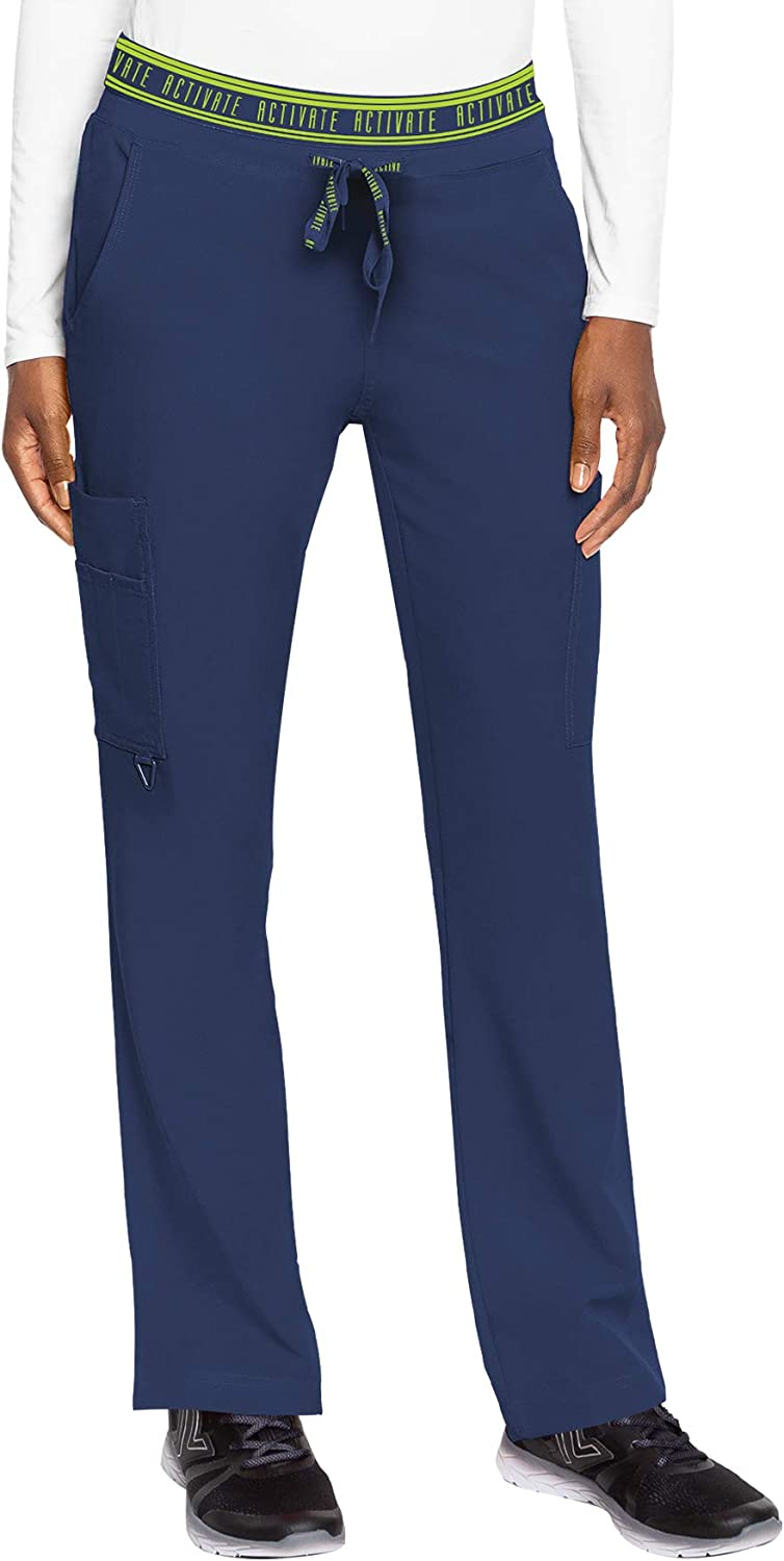 Med Couture Women's Activate Flow Yoga Two Pocket Cargo Pant, Navy, Medium Tall