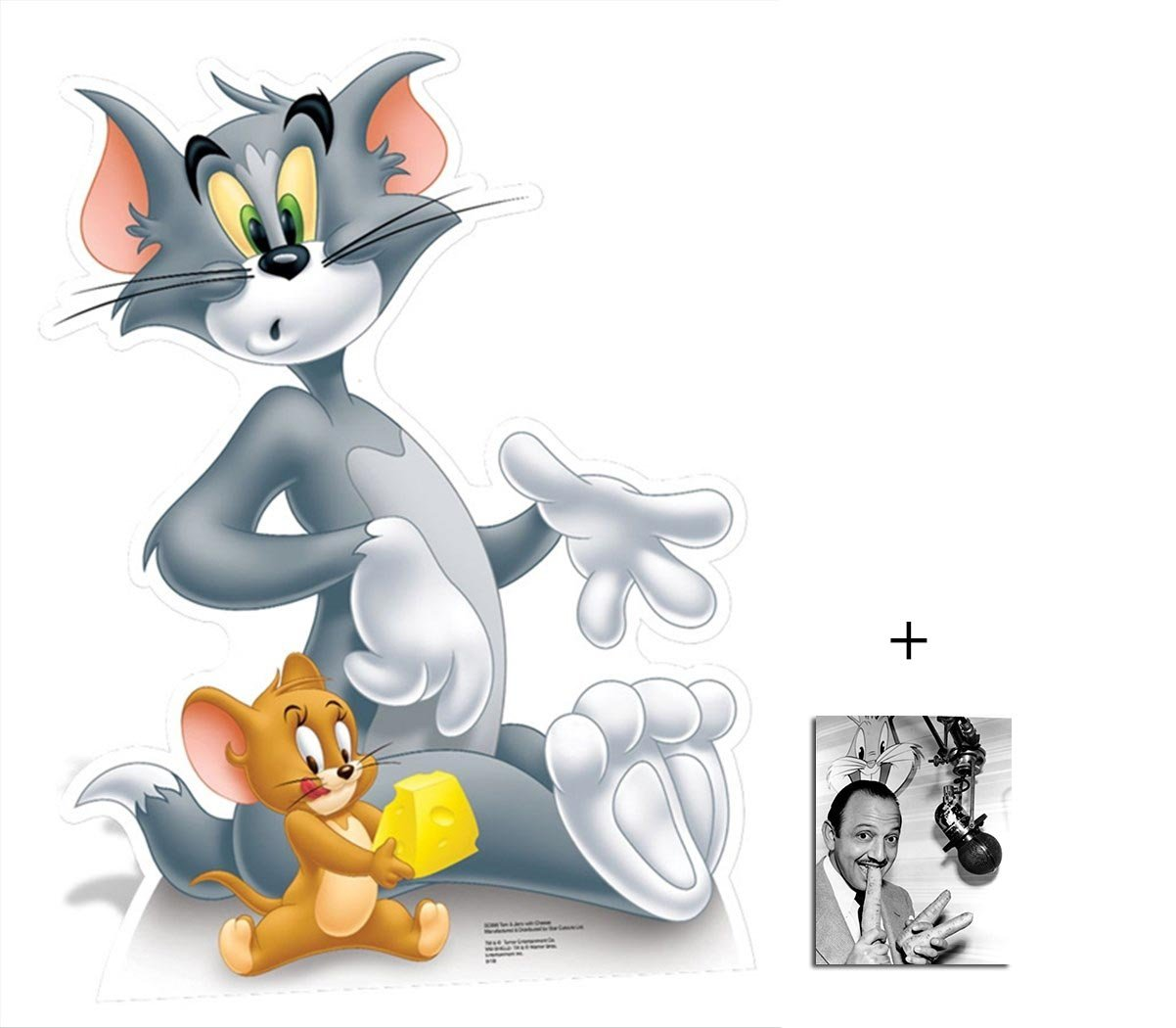 Fan Pack - Tom and Jerry Holding Cheese Looney Tunes Lifesize Cardboard 2D Standup / Cutout Plus 20x25cm Photo