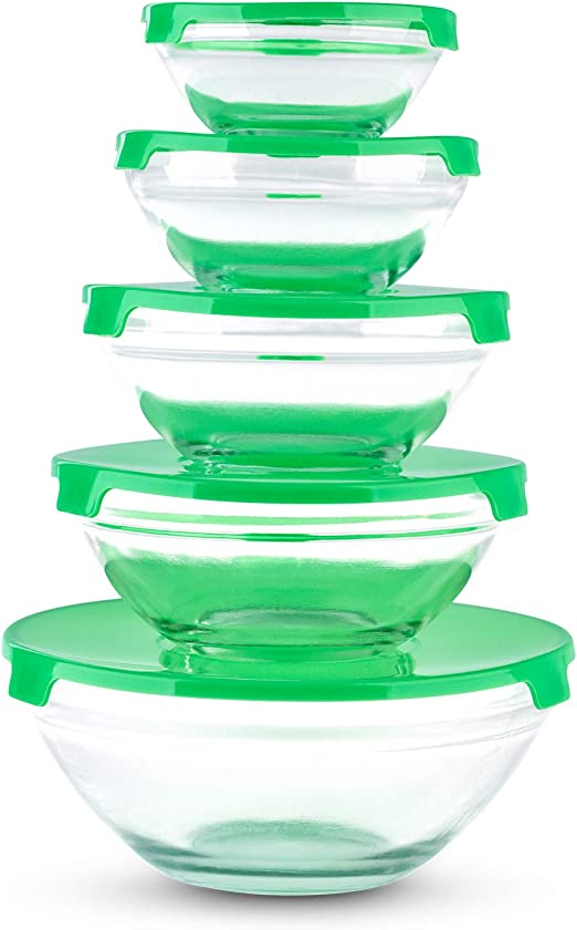 Ryori Kitchen - Juego de 5 cuencos de cristal apilables con tapa ...