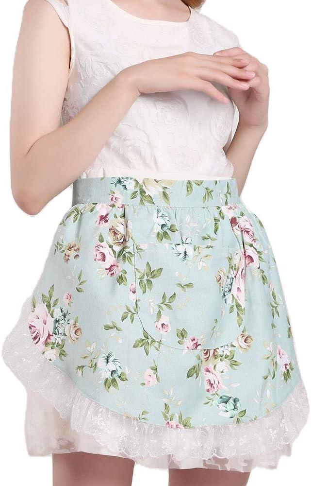 IWEIK Women's Flowers Pattern Tulle Lace Trim Cotton Waist Apron Half Apron