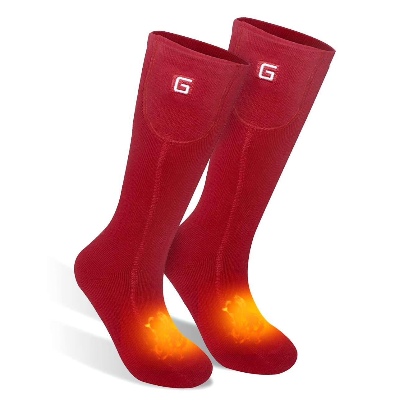 Men Women Socks Electric Socks Heated Socks for Chronically Cold Feet, Rechargeable Batteries Socks Hiking Socks Skiing Socks Socks (Red) by Highting