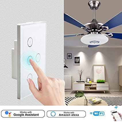 Volwco Smart Fan Light Switch, Fan Timer Switch APP Remote Control Light  Switch Ceiling Fan Speed Control, Compatible with Alexa and Google Home