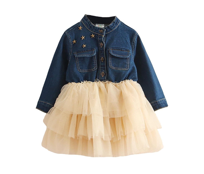 1fc14033f Abalacoco Girls Kids Soft Denim Shirt Tutu Dress Long Sleeve Winter Casual  Party Dress