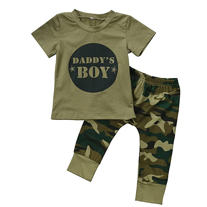 79c49f5a3df 2 Styles Daddy s Baby Boy Girl Camouflage T-Shirt Tops and Long Pants Pants  Leggings Outfits Set
