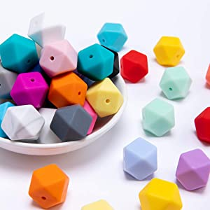 Silicone Beads for Teething 17mm 50pc Jewelry Beads Food Grade BPA Free Chewing Beads for Teething Nursing Necklaces