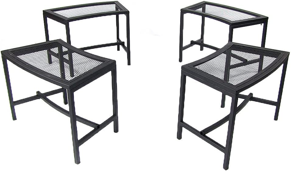 Sunnydaze Outdoor Curved Fire Pit Bench - Rustic Backyard Backless Powder-Coated Black Metal Mesh Garden, Patio, Porch and Deck Chair Seating - Set of 4