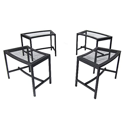 Marvelous Sunnydaze Outdoor Curved Fire Pit Bench Rustic Backyard Backless Powder Coated Black Metal Mesh Garden Patio Porch And Deck Chair Seating Set Of Machost Co Dining Chair Design Ideas Machostcouk