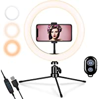 GEMWON LED Ring Light with Phone Holder, Gemwon Dimmable 3 Color Lights 10 inches Temperature 3000K-5000K USB Beauty…