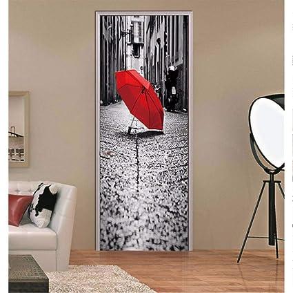 3D Regenschirm Pvc Tür Aufkleber Selbstklebend Wohnkultur Poster Für Wohnzimmer Diy Wasserdichte Tapete Benutzerdefinierte Gr