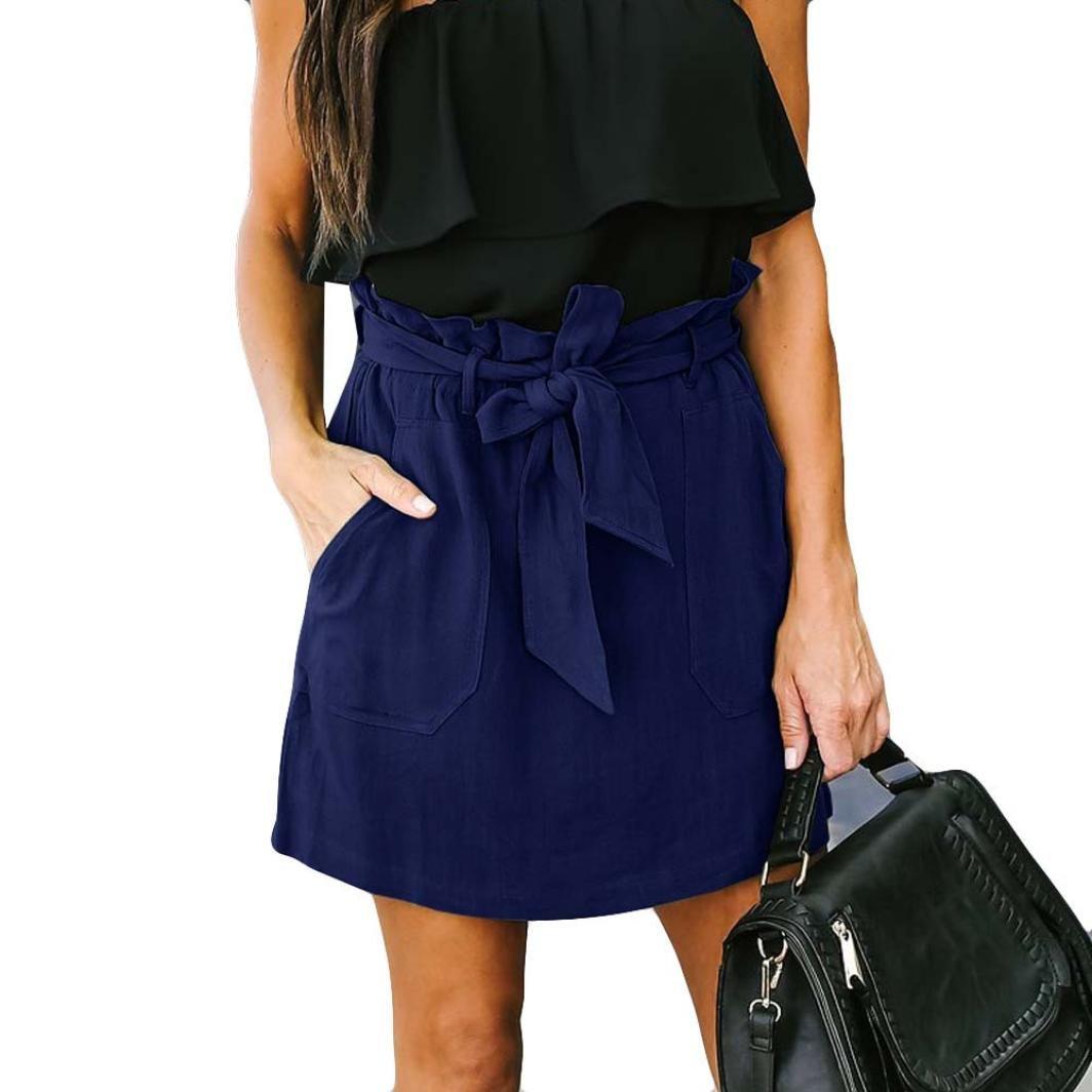 Spbamboo Clearance Sale! Womens Casaul Pocket Pure Color High Waist Summer Skirt by Spbamboo (Image #2)