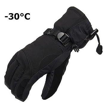 xscomsport Hombres Mujeres Invierno Esquí Deporte impermeable doble guantes  negro -30 grado cálido guantes de equitación Snowboard motocicleta guantes  de ... 77ef69d2735