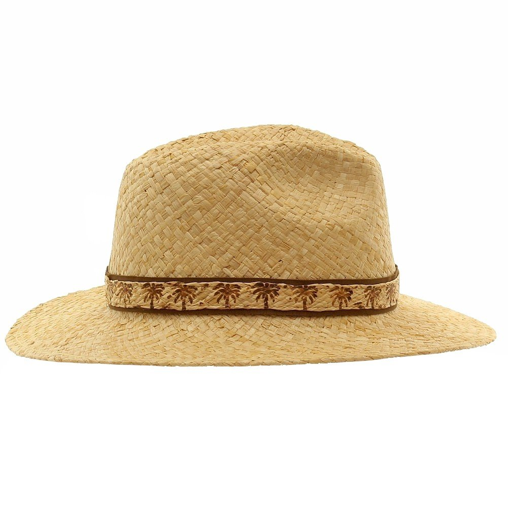 SCALA Mens Natural Raffia with Palm Tree Trim Safari Hat