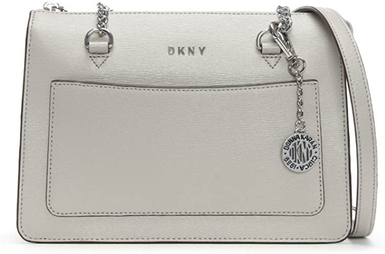 DKNY Small Grey Leather Top Zip Tote Bag Grey Leather