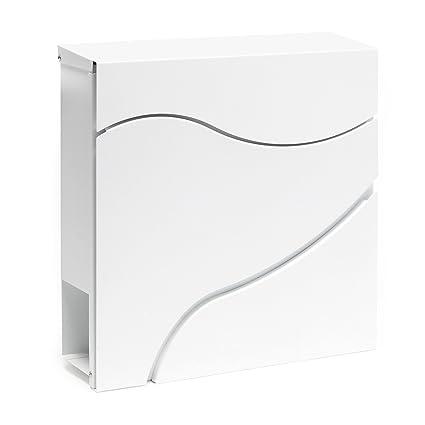 Buzón correos diseño moderno V27 Blanco Bandeja soporte periódico Cartas Correspondencia Postal