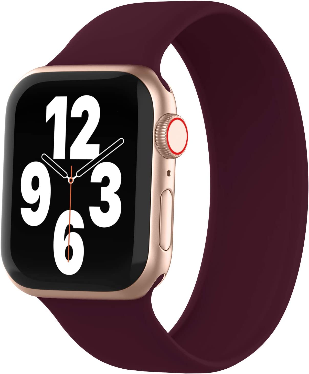WASPO Solo Loop Band Compatible with Apple Watch Band 38mm 40mm 42mm 44mm, sport Elastic Silicone Bands with Noclasps or buckles Compatible for iWatch Series 6/SE/5/4/3/2/1(38mm/40mm-S, Wine Red)