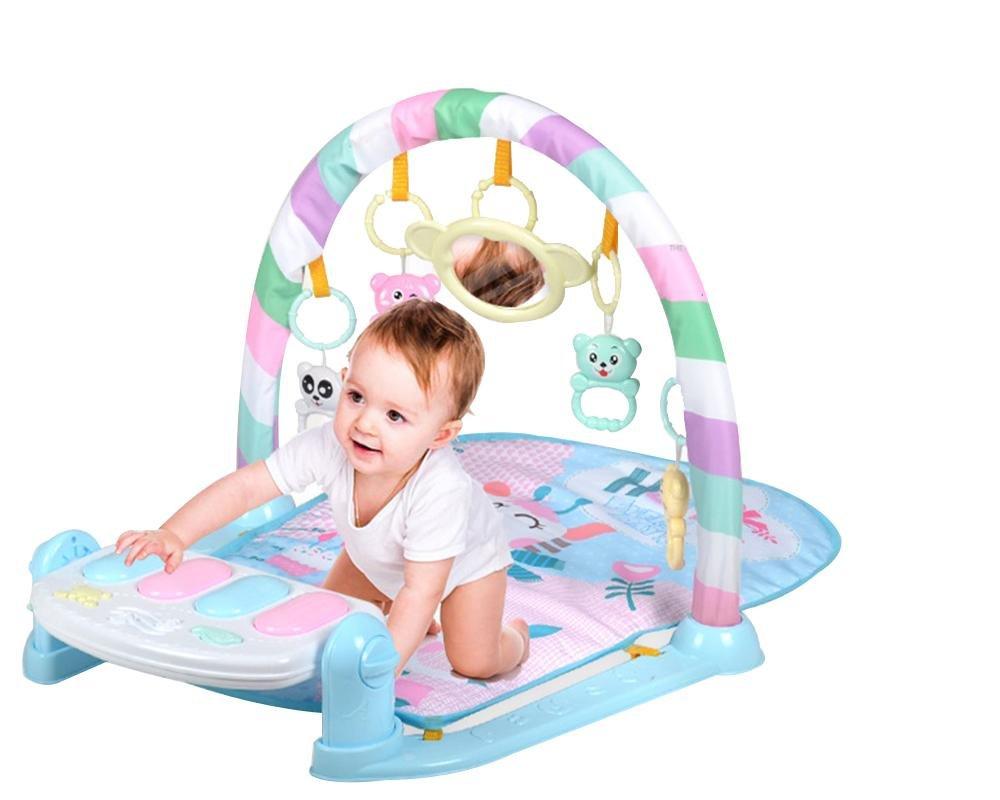 LINAG Gym Actividad Baby Musical Mat Gimnasio-piano Pataditas Actividades Educación Juguetes Infantil Mat Juegos Educativos Aptitud Pie Música , azul b