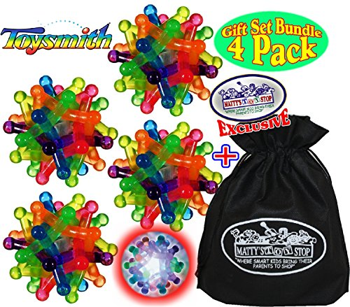 (Toysmith Light-Up Flashing Neutron Balls Gift Set Party Bundle with Exclusive Matty's Toy Stop Storage Bag - 4 Pack)