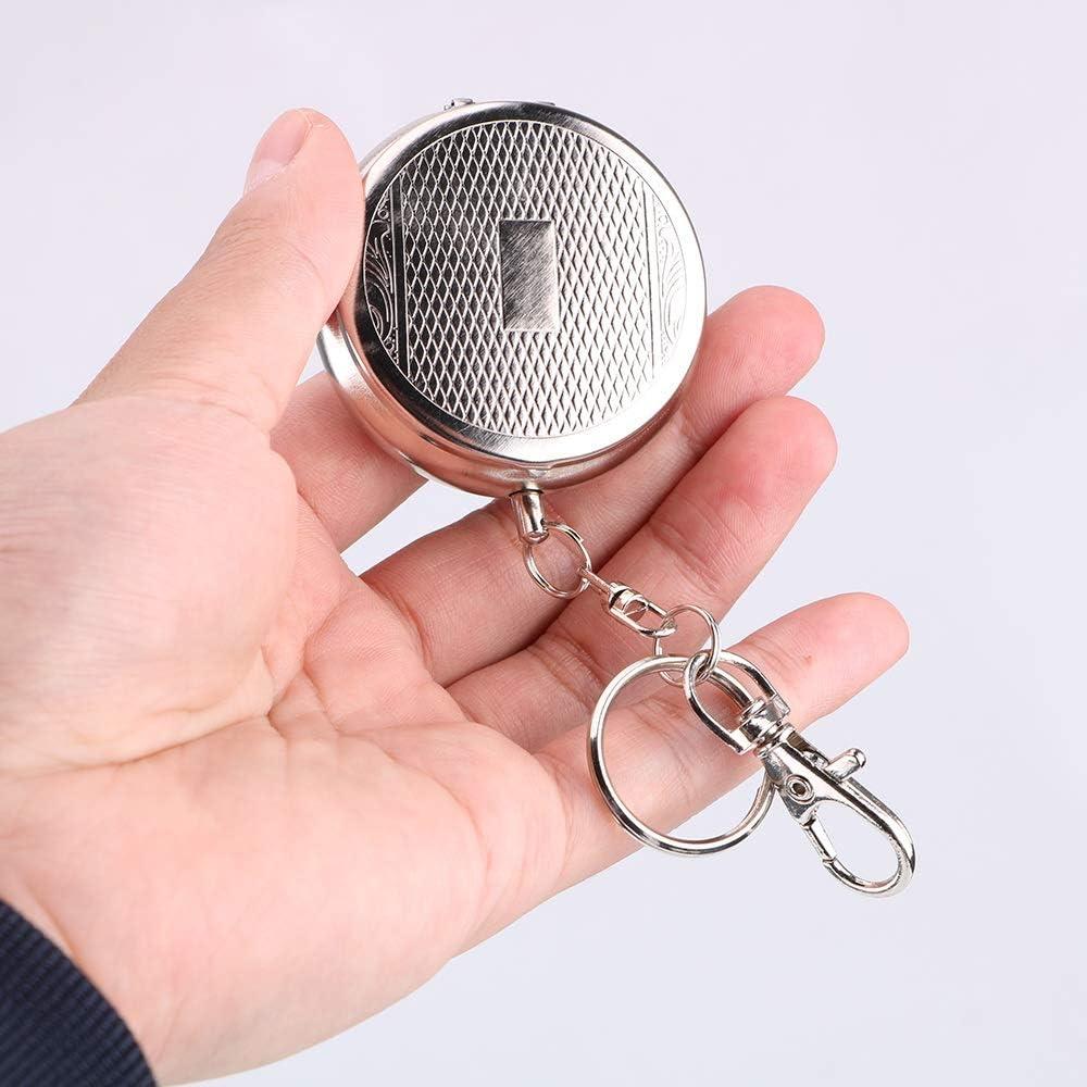 NNMNBV Taschenaschenbecher Tragbarer Mini-Aschenbecher aus Edelstahl mit Fahrzeug-Zigarettenaschenbecher als Schl/üsselanh/änger