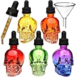 60ml bottle - 3PCS 2OZ Skull glass dropper bottle liquid dropper bottle perfume oil bottle essential oil bottle with funnel pipette with nipple (3, 60ml)