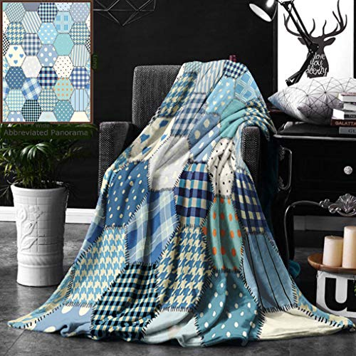 Unique Custom Digital Print Flannel Blankets Cabin Decor Blue Toned Patchwork Hexagons Stitched Seem Quilt Pattern Retro Tile Image Super Soft Blanketry for Bed Couch, Twin Size 60 x 80 Inches ()
