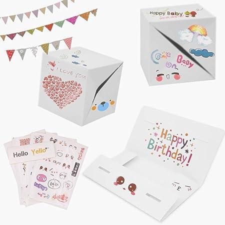 Caja de explosión creativa para hacer tú mismo, con sobres de color blanco, caja de regalo para fotos sorpresa con accesorios para bricolaje para Navidad, cumpleaños, aniversario, San Valentín, boda: Amazon.es: Hogar