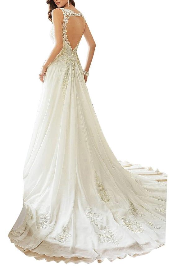 Vestido de novia Ivydressing, escote en pico, tul, vestidos de novia: Amazon.es: Ropa y accesorios