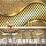 Ohcde Dheark Wall Wallpaper Living Room Modern Golden Metal Line Hotel Industria Bar Ktv Wall Art Covering Murals-3D Wall Paper 3D Home Decor 250Cmx175Cm(98.4 By 68.9 In )