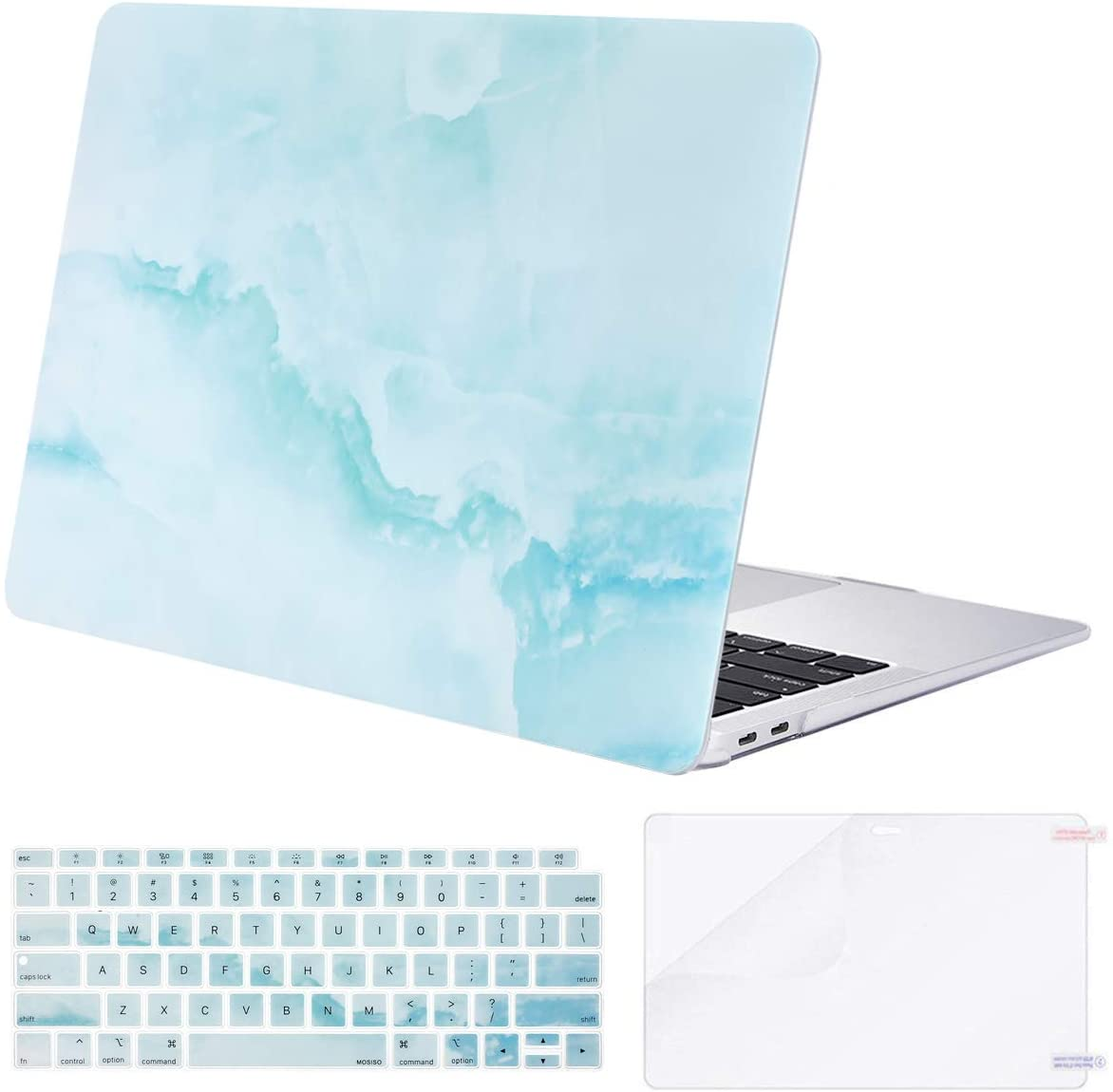 MOSISO Compatible with MacBook Air 13 inch Case 2020 2019 2018 Release A2337 M1 A2179 A1932 Retina Display Touch ID, Plastic Cloud Marble Hard Shell Case&Keyboard Cover&Screen Protector, Hot Blue