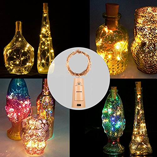 Luces LED para botella con corcho, 2 m, 20 luces LED de color blanco cálido para bricolaje, dormitorio, fiesta, boda, decoración, cobre, Golden Cork Light ...