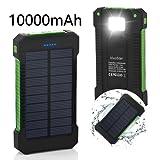 Solar Ladegerät, VivoStar 12000 mAh Solar Power Bank mit Solar-Paneel dualer USB-Anschluss tragbares Ladegerät, solarbetriebenes Akku Ladegerät mit LED-Licht